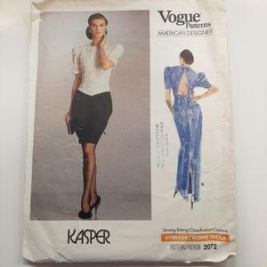 VTG 1988 VOGUE DRESS PATTERN # 2072